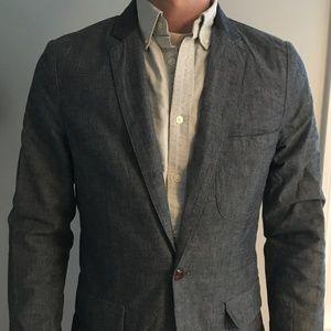 J. Crew Chambray Cotton Blazer (Size XS)